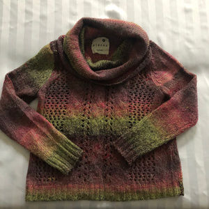 Kensie Pieces cowl neck open cable knit sweater M